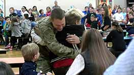 Soldier Surprises Sons At Stingel Elementary School